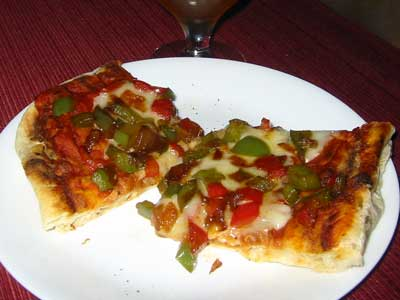 Grilled pizza w/sauted peppers and onions